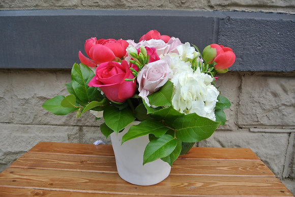 Pink Roses & Peonies with White Hydrangas