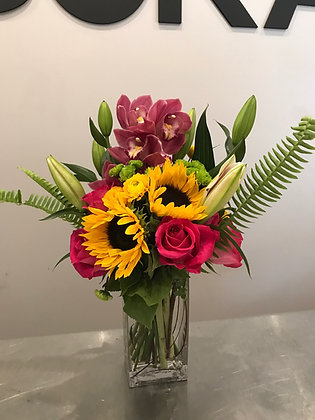 Pinks and Sunflowers