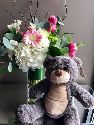 Baby Girl Arrangement with Grey Bear