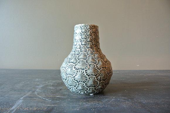 Gray Textured Flower Pattern Bud Vase