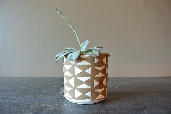 One Stem Succulent in Patterned Vase