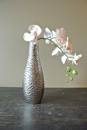 Artificial Orchid in Silver Vase