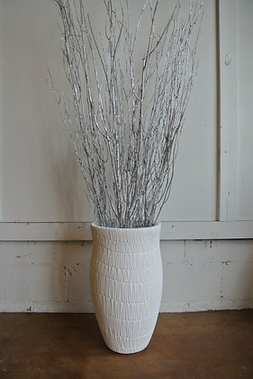White Textured Vase with Silver Sticks