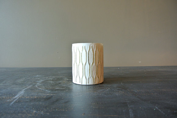 Small White Vase with Candle