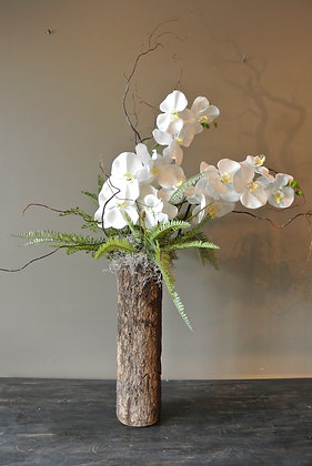Artificial Orchids in Wood Vase