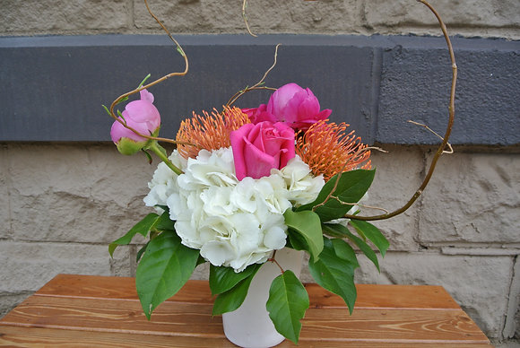Pinks & Oranges with White Hydrangeas