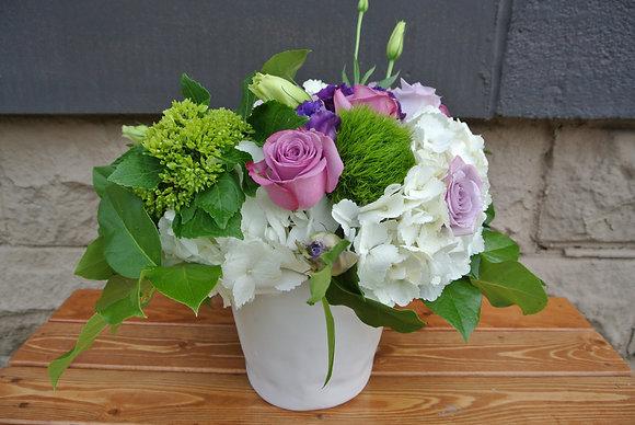 Purples & Pinks with White Hydrangeas