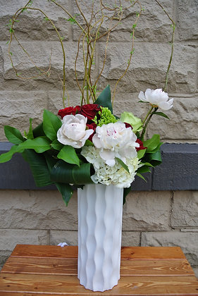 Red & Green Roses with Peonies