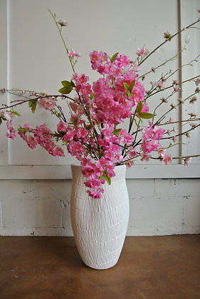White Textured Vase with Pink Flowers