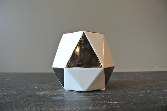 Small Hexagon White & Gold Patterned Vase