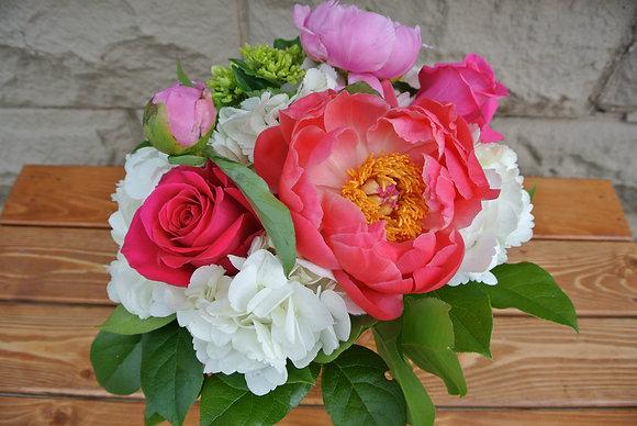 Roses & Peonies with White Hydrangeas
