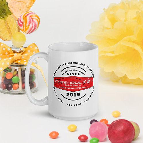 Telling Your Ride's Story Since 2019 White Glossy Mug