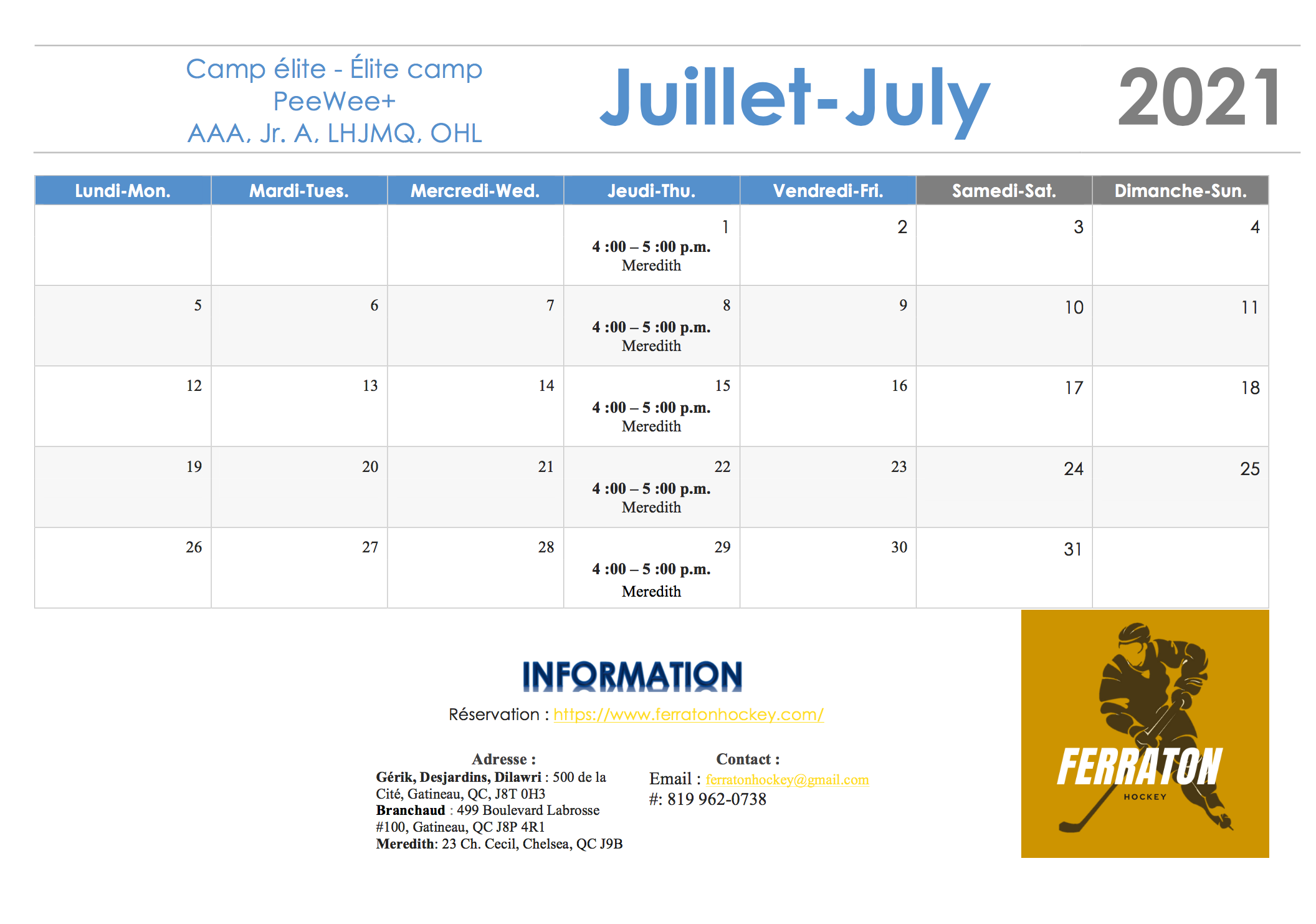July sessions- Thu. 4 to 5 p.m.
