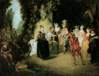 """""""L'amour au Théâtre Français"""", Watteau, vers 1719. BKP, Berlin."""