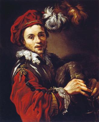 François Langlois en joueur de sourdeline, par Claude Vignon, vers 1623. Davis Museum, Wellesley.