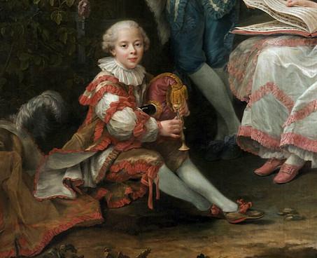 """""""Yves Marie, comte de Montsoreau, à la musette. Détail du tableau précédent,  Le marquis de Sourches et sa famille, par François-Hubert Drouais,1756. Château de Versailles."""