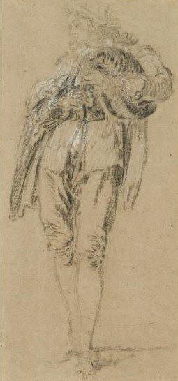 """""""Joueur de musette"""", par Nicolas Lancret, vers 1729. Craie noire et blanche sur papier,  Waddesdon Manor, Buckinghamshire, Grande-Bretagne."""