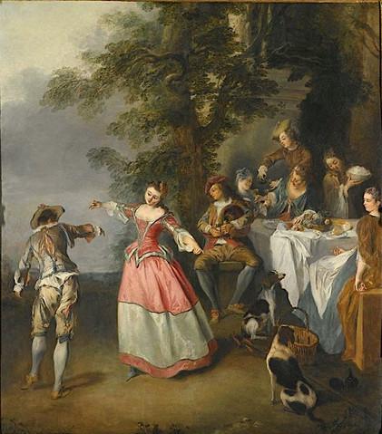 """""""Fête champêtre avec un couple de danseurs"""", par Nicolas Lancret, vers 1730. Vente Sotheby's, Londres, 2005."""