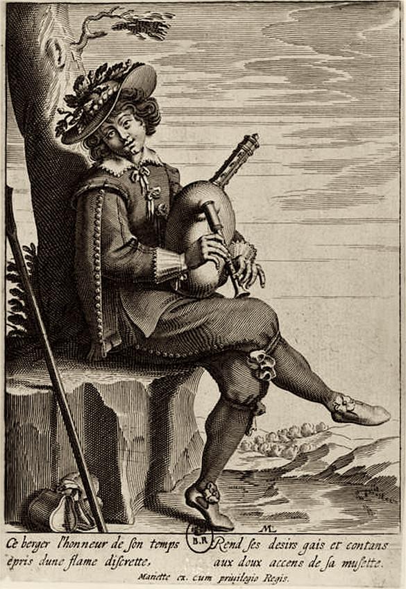 """""""Le joueur de Musette"""", gravé par Mariette, Paris vers 1650."""
