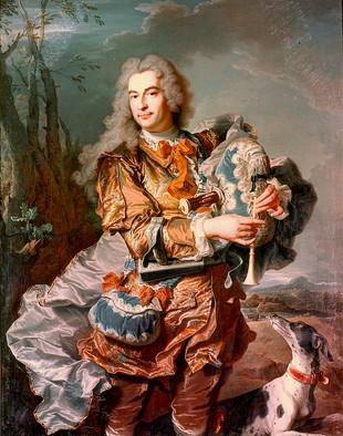 """""""Portrait du président Gaspard de Gueidan en joueur de musette"""", par Hyacinthe Rigaud, 1735. Musée Granet, Aix-en-Provence."""