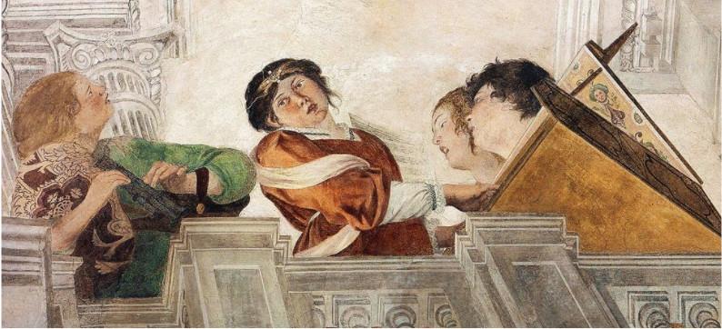 """Gentileschi Orazio e Tassi Agostino """"Concerto con Apollo e le Muse"""", XVII d.C. Palazzo Pallavicini Rospigliosi, Roma."""