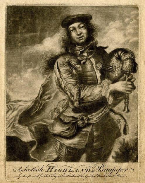 """Scottich Highland Bagpiper"", gravure en vente à Londres, 18e siècle."