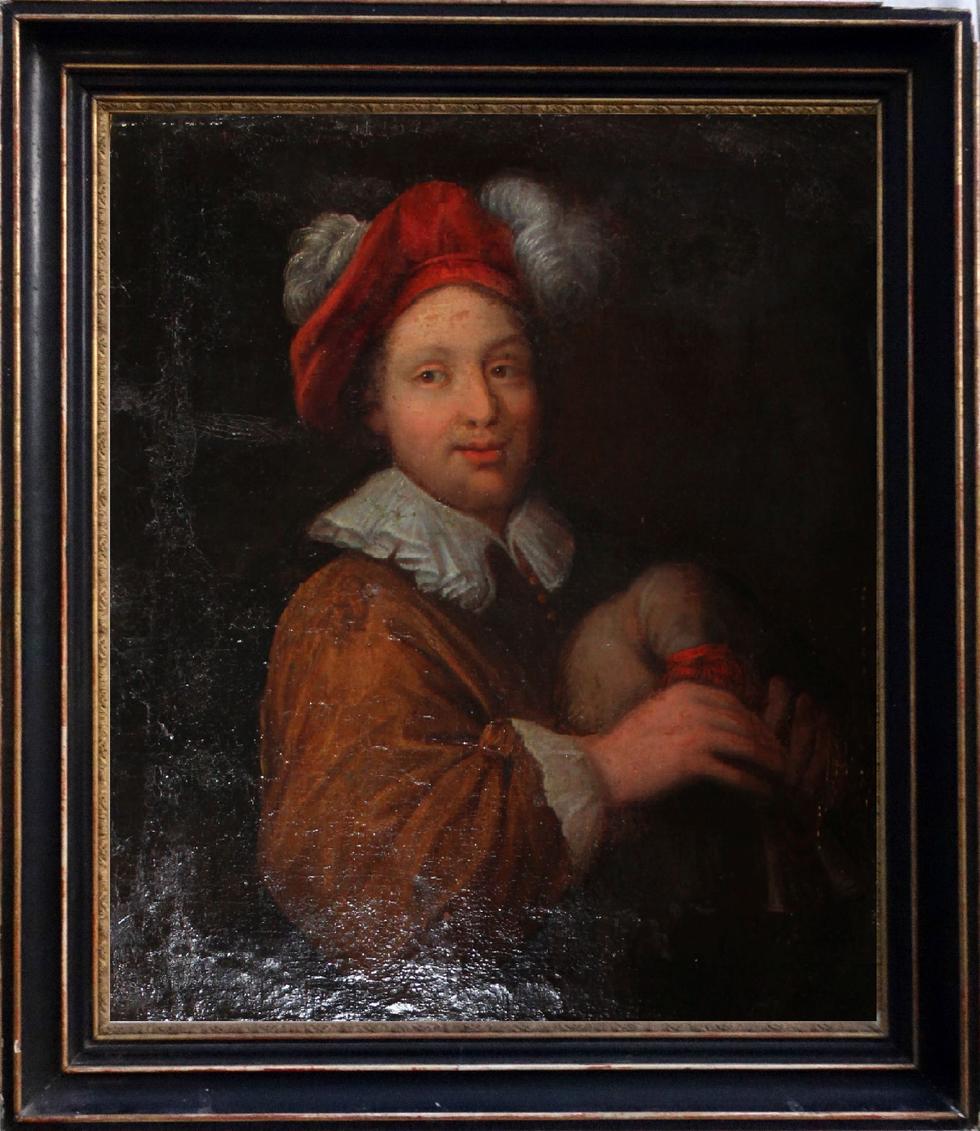 """""""Portrait d'un joueur de sourdeline"""", inconnu, 17° siècle. Col. privée, Marseille."""