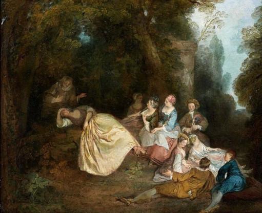 Nicolas LANCRET (1690 -1743) Assemblée galante dans un parc, ca 1720. Huile sur toile 32 x 40,50 cm. Vente Tajan, Paris, 2014.