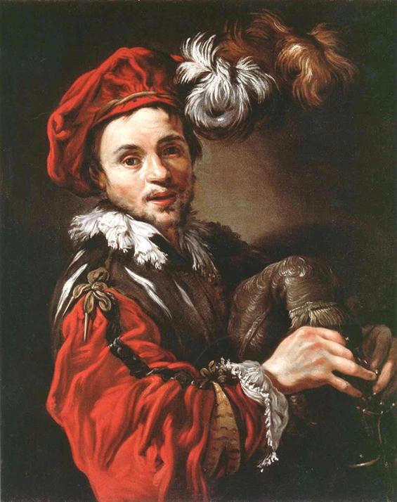 """""""Portrait de François Langlois en joueur de sourdeline"""", Claude VIGNON (1593-1670), huile sur toile, ca 1623, Davis Museum, Wellesley, Massachusetts."""