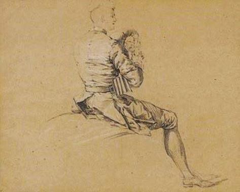 """""""Personnage assis jouant de la musette"""", par Lancret, vers 1730. Crayon noir et craie blanche sur papier beige, Vente Tajan 2009."""