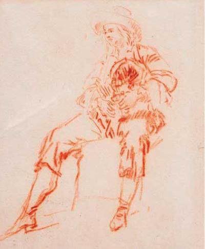 """""""Joueur de Musette"""", par Lancret vers 1735? Sanguine, Galerie Jean-Marie le Fell, Paris."""