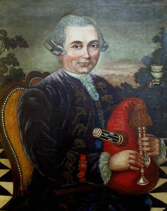 Portrait d'un gentihomme en joueur de musette, anonyme, 18e siècle. Col. Maillard.