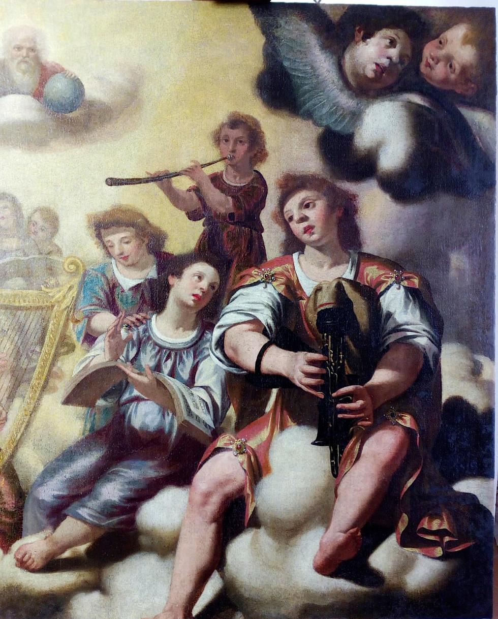"""""""Concert avec joueur de sourdeline"""", attribué à Paolo Domenico Finoglio (1590 - 1645). Sessa Arrunca."""