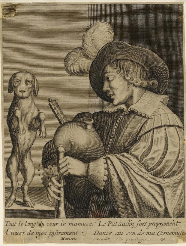 """""""Joueur de Musette et son chien"""", gravé par Mariette, vers 1650. BNF"""