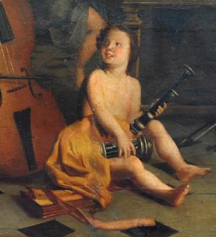 Allégorie de la musique Lyon, anonyme 18e si§cle, étude Bremens-Belleville, vente Bremens-Belleville, 2018, détail.