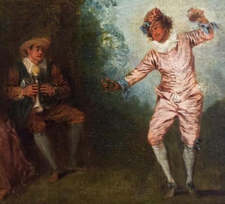 """""""Le danseur aux castagnettes"""", par Watteau. Vers 1723. Williams College Museum, Williamstown, MA."""