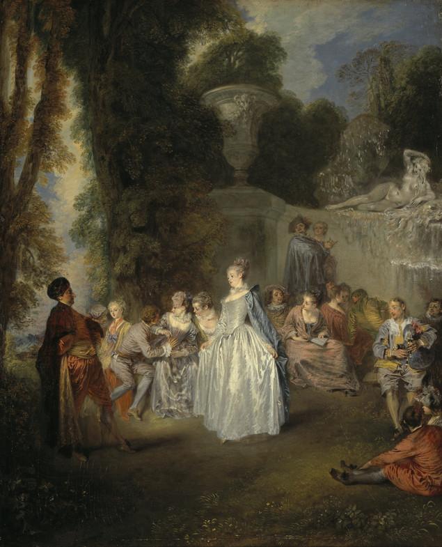"""""""Les Fêtes Vénitiennes"""", Watteau, 1719. National Gallery, Edinburgh."""