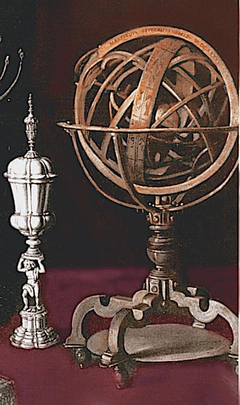 Sphère armillaire fabriquée par Settala, détail de son portrait par Nuvolone.