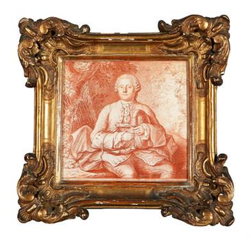 """""""Homme jouant de la Musette"""", sanguine, début 18° siècle. Col. Particulière."""