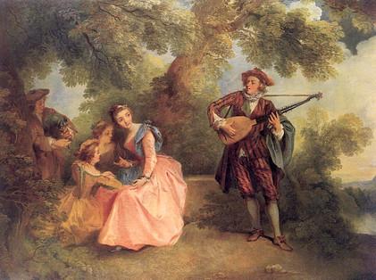"""""""Le concert champêtre"""", par Nicolas Lancret, vers 1743. Col. particulière."""
