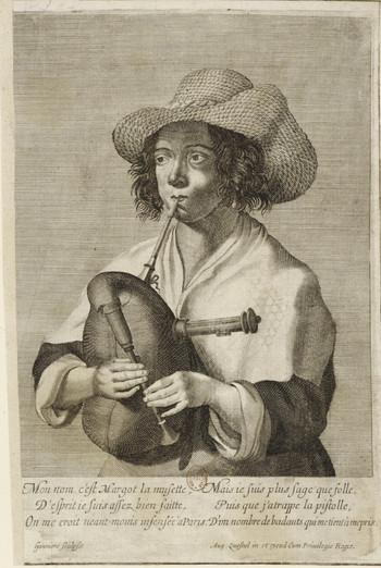 """""""Margot le Musette"""", gravé par Gagnière à Paris vers 1650. BNF."""