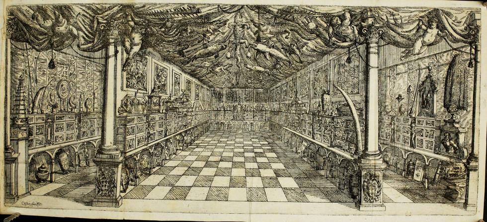 Cesare Fiori (1636-1702), La galerie Settala à Milan, planche gravée in Paolo Maria Tergazo, Museo, ò Galeria adunata [...], Tortone, per li figliuoli del E. Viola, 1666.
