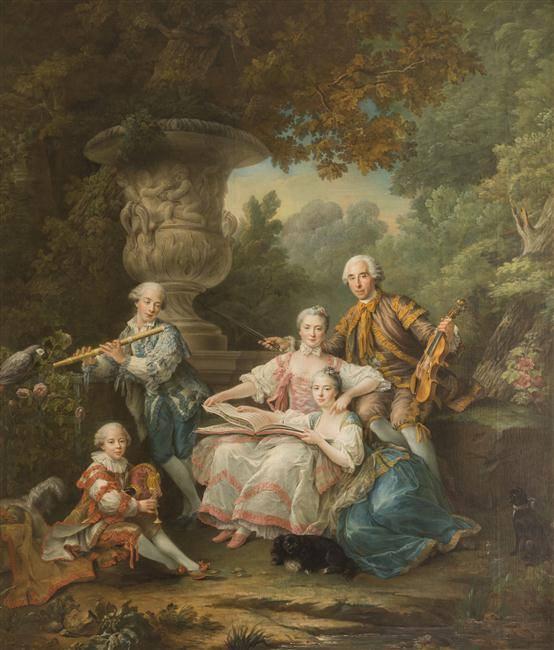 Le marquis de Sourches et sa famille, par François-Hubert Drouais,1756. Château de Versailles.