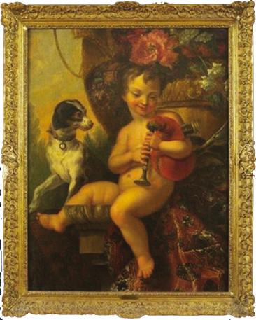 """""""Amour berger avec sa musette"""", par Huilliot vers 1660. Col particulière."""