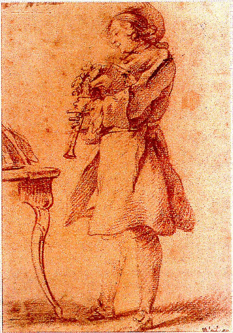 """""""Joueur de musette"""", sanguine, attribué à Watteau,Marseille, musée Grobet-Labadie."""