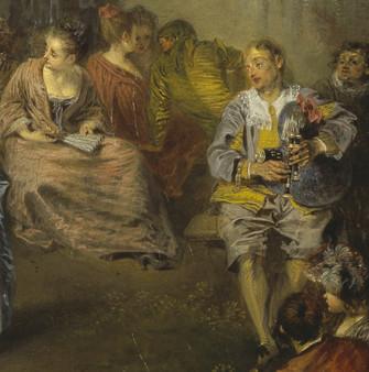 """""""Les Fêtes Vénitiennes"""", détail. Watteau, 1719. National Gallery, Edinburgh."""