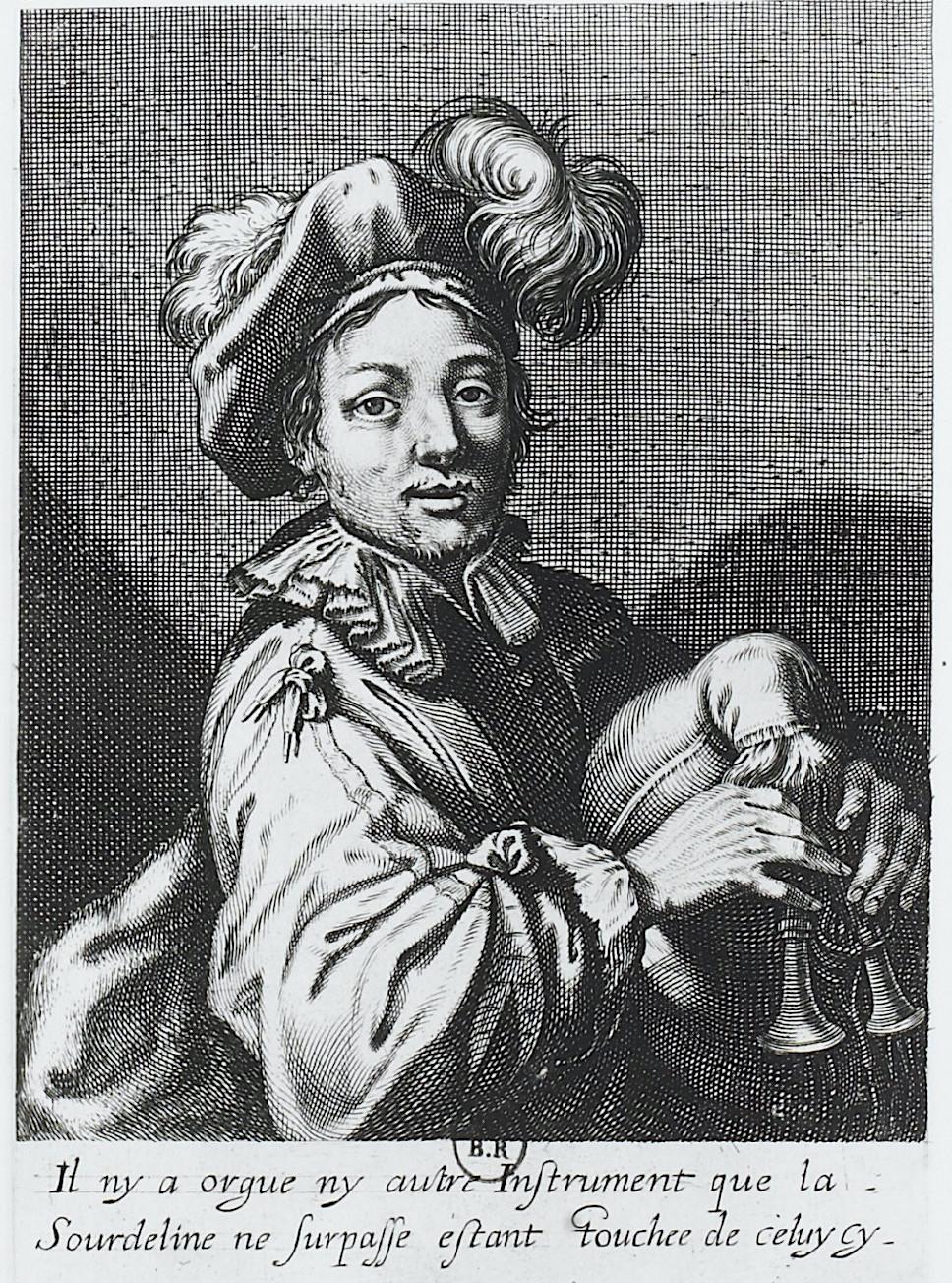 """""""Le joueur de Sourdeline"""", par Vignon, gravé  par  C. David, vers 1630. BNF."""