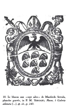 Le blason aux « sept ailes » de Manfredo Settala, planche gravée, in P. M. Tergazo, Museo, ò Galeria... 1666.