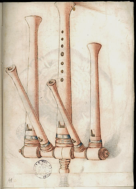 Flûte multiple, Codex Settala, vers 1650, Ref. Gamma.h.1.22, Biblioteca Estense Universitaria, Modena.
