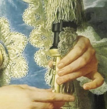 """Détail du boitier avec armoiries du """"Portrait du président Gaspard de Gueidan en joueur de musette"""", par Hyacinthe Rigaud, 1735. Musée Granet, Aix-en-Provence. Photo Patrick Blanc."""